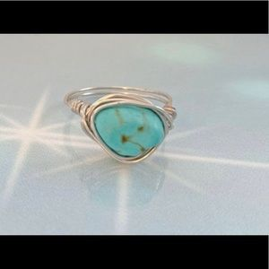 New Turquoise Silver Wrapped Ring Sz 4-12